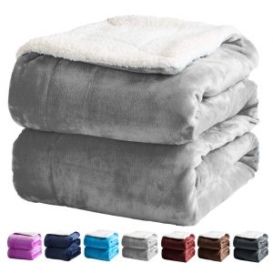 SONORO KATE Sherpa Blanket (Grey, Queen), best for Queen-sized bed