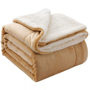 NANPIPER Throw Sherpa Blanket (Beige), for 3.5 by 6 feet bed