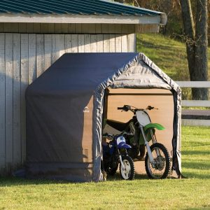 ShelterLogic 6' x 6' Shed-in-a-Box All Season Steel Metal Peak Roof Outdoor Storage Shed with Waterproof Cover