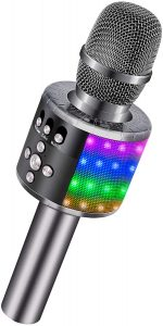BONAOK Bluetooth Wireless Microphone with Controllable LED Lights,