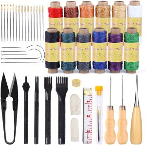 BUTUZE 46 Pcs Leather Upholstery Repair Kit, Leather Sewing Kit with 12 Colors Waxed Thread, Sewing Needles, Leather Stitching Punch, Awls and Other Tools for Leather Stitching, Repair, Sewing