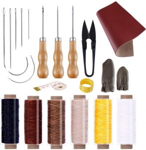 BUTUZE Convenient Leather Craft Sewing Kit 22 Pieces Leather Sewing Repair Kit with Simple Method for Beginner-Leather Sewing Tools
