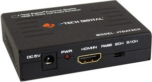 J-Tech Digital Premium Quality 1080P HDMI To HDMI + Audio (SPDIF + RCA Stereo) Audio Extractor Converter (JTDAT5CH)